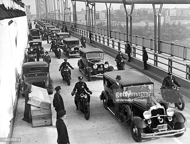 The ceremonial parade for the opening of the new Hudson River Bridge New York New York October 24 1931 It connects the Washington Heights...