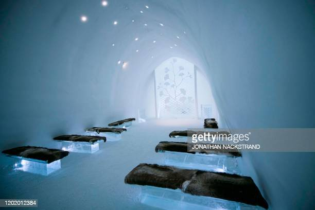 The Ceremony Hall, Ginkgo, designed by Kauppi and Kauppi, is pictured at the Ice Hotel in the village of Jukkasjarvi, near Kiruna, in Swedish Lapland...