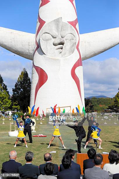 The ceremony is held prior to the inside the 'Tower of Sun' is open to public at the Expo '70 Commemorative Park on October 29 2016 in Suita Osaka...