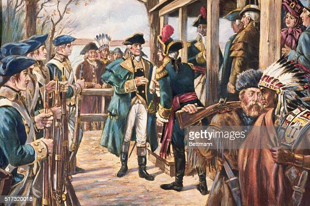 The ceremony of land transfer for the Louisiana Purchase in 1804 US Commisioner Captain Amos Stoddard takes a document from Lansat Napoleon's...
