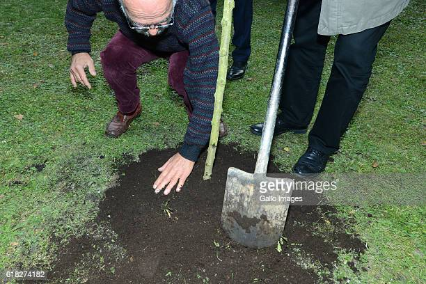 The ceremony of planting Wislawa Szymborskaâs acacia on October 24 2016 near Dworek Lowczego in Krakow Poland Szymborska the Polish poet and essayist...
