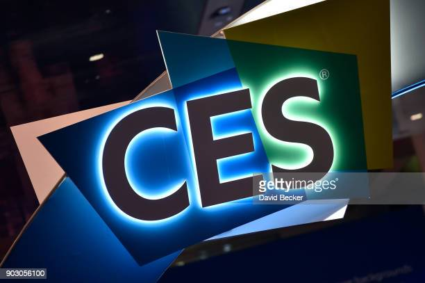 The CES logo is seen during CES 2018 at the Las Vegas Convention Center on January 9 2018 in Las Vegas Nevada CES the world's largest annual consumer...
