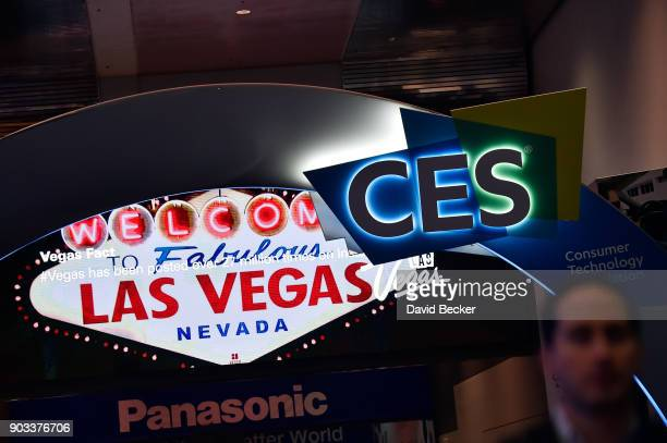 The CES logo is seen during CES 2018 at the Las Vegas Convention Center on January 10 2018 in Las Vegas Nevada CES the world's largest annual...