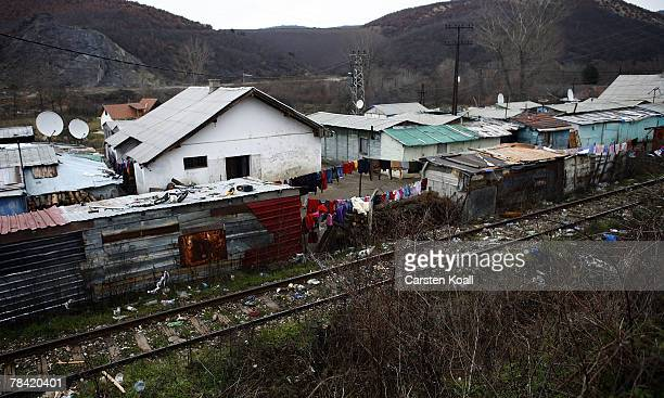 The Cesmin Lug refugee camp in the Serbian district is shown December 12 2007 in Kosovo province Serbia One hundred and fourtyfour refugees live in...