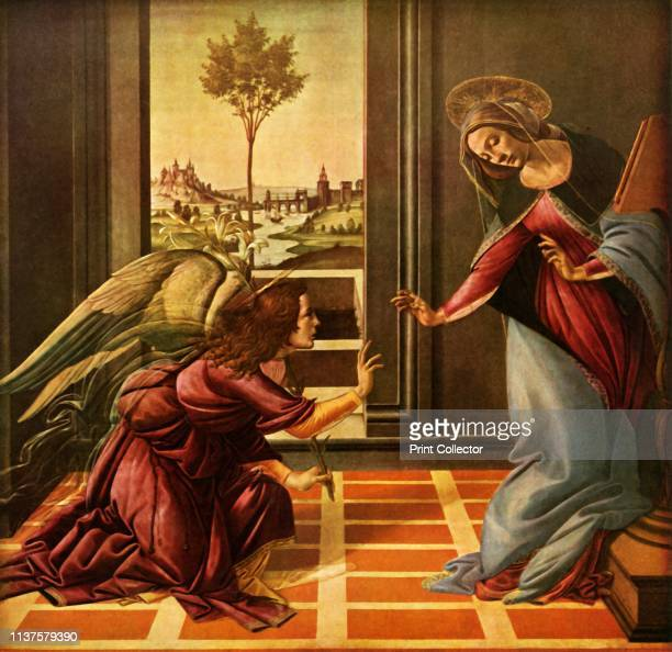 The Cestello Annunciation' . The angel Gabriel, holding a stem of lilies, brings the Virgin Mary the news that God has chosen her to bear the Christ...