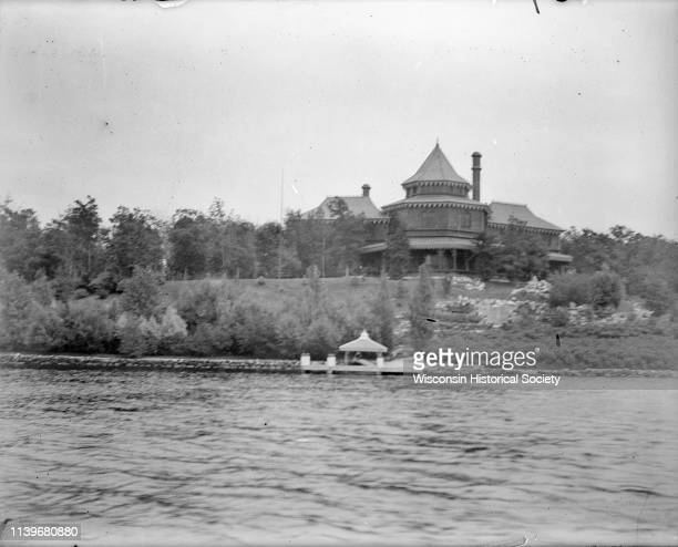The Ceylon Building and its pier as seen from Lake Geneva Lake Geneva Wisconsin 1893 Originally built for the World's Columbian Exposition in Chicago...