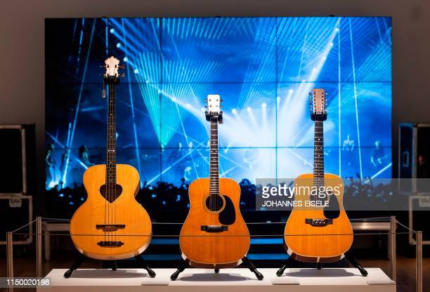 The CF Martin Company Nazareth Acoustic Guitar from David Gilmour is on display at Christie's on June 14 2019 in New York City The personal guitar...