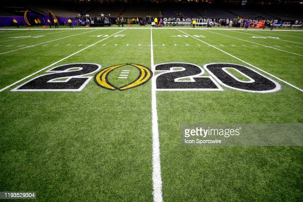 The CFB 2020 Logo is displayed on the field prior to the College Football Playoff National Championship Game between the LSU Tigers and the Clemson...