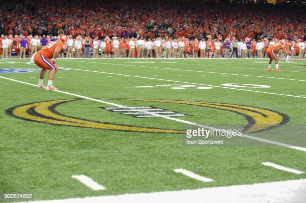 The CFP logo rests on the 25 yard line as CLemson prepares to receive the opening kickoff during the College Football Playoff Semifinal at the...