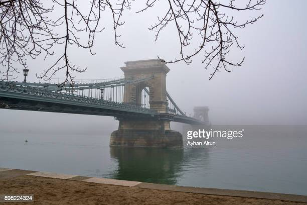 the chain bridge at foggy day,budapest,hungary - ponte széchenyi lánchíd - fotografias e filmes do acervo