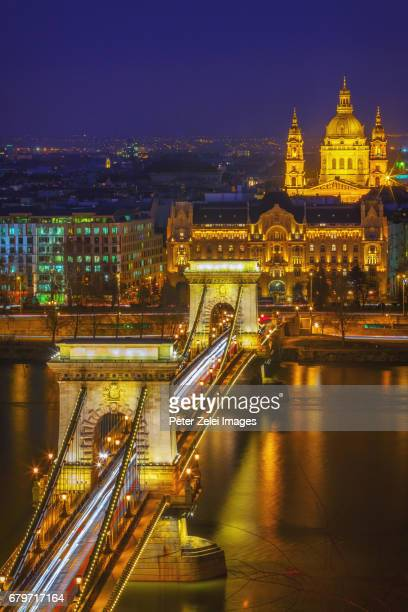 The Chain Bridge of Budapest and the St. Stephen's Basilica, Hungary
