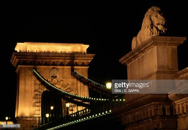 The Chain bridge over the Danube at night Budapest Hungary 19th century