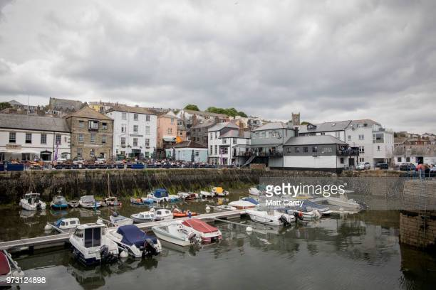 The Chain Locker public house is pictured besides the harbour in Falmouth on June 13, 2018 in Cornwall, England. The Chain Locker pub is where Sir...