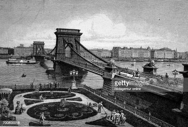 The chainbridge of Budapest Hungary Woodcut from 1892