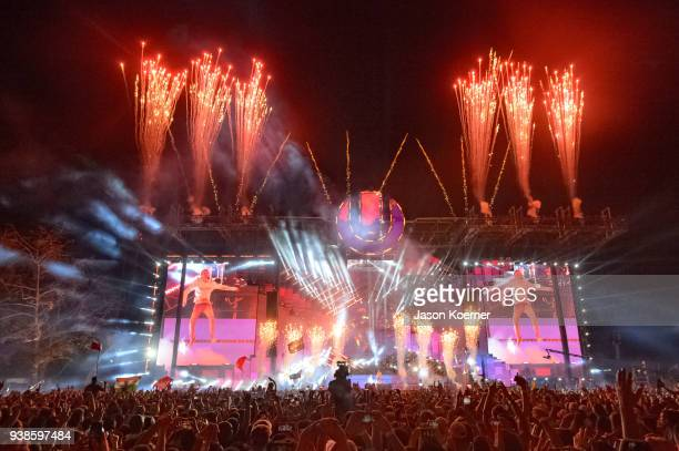The Chainsmokers perform during Ultra Music Festival 2018 at Bayfront Park on March 24 2018 in Miami Florida