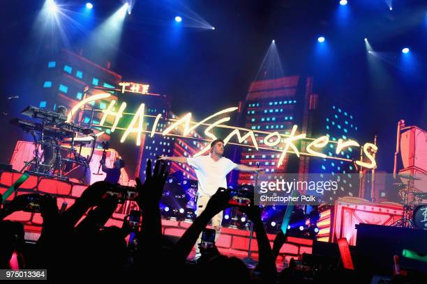 The Chainsmokers perform live exclusively for American Airlines AAdvantage Mastercard cardmembers at The Wiltern on June 14 2018 in Los Angeles...