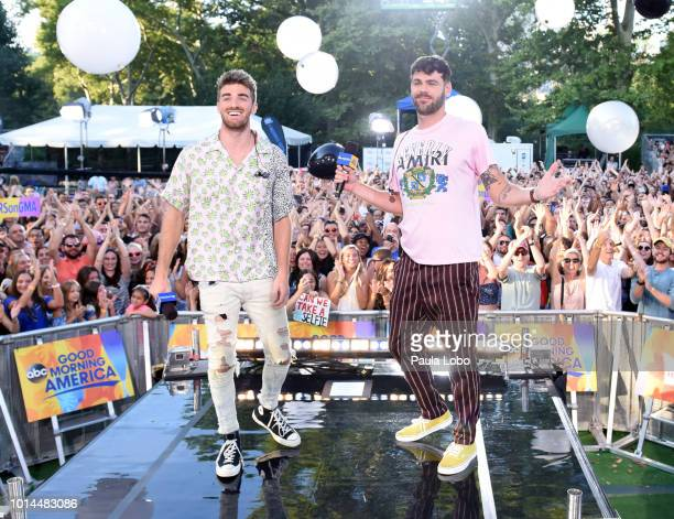 AMERICA The Chainsmokers perform live from Central Park on Good Morning America as part of the GMA Summer Concert series on Friday August 10 2018...