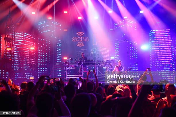 The Chainsmokers perform live on stage during an exclusive concert for SiriusXM and Pandora as part of Its Super Bowl Week Opening Drive Super...