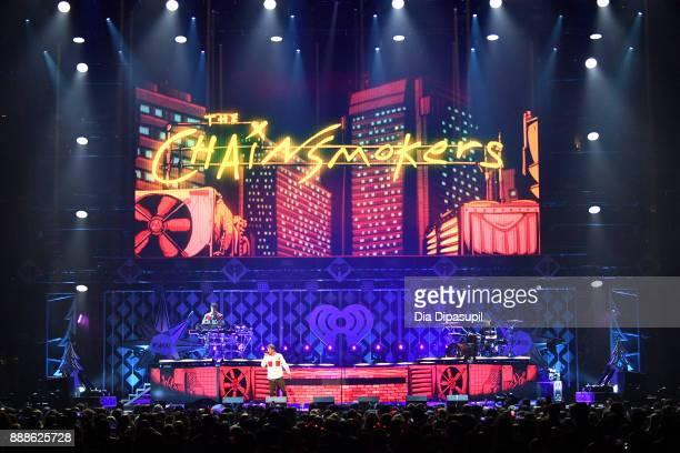 The Chainsmokers perform onstage at the Z100's Jingle Ball 2017 on December 8 2017 in New York City