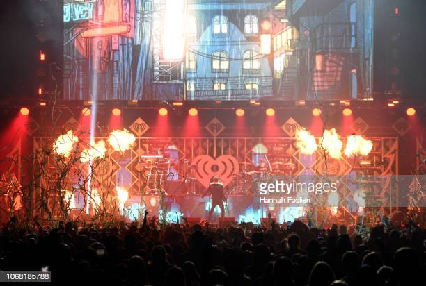 The Chainsmokers perform onstage during 1013 KDWB's Jingle Ball 2018 at Xcel Energy Center on December 3 2018 in St Paul Minnesota