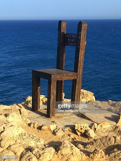 the chair at the southern point of europe !! - gavdos stock pictures, royalty-free photos & images