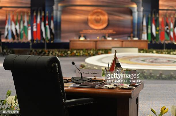 The chair for a Syrian representative is seen unmanned during the Arab League summit in Egypt's Red Sea resort of Sharm ElSheikh on March 28 2015 AFP...