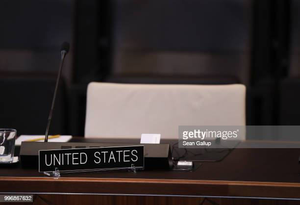 The chair for U.S. President Donald Trump stands empty prior to a working session of NATO leaders and the delegations from Ukraine and Georgia at the...