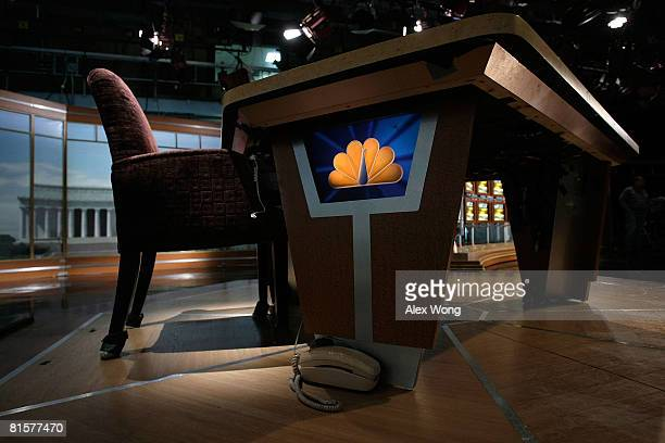 The chair of late moderator of 'Meet the Press' Tim Russert sits empty on the set of the show June 15 2008 at the NBC studios in Washington DC...