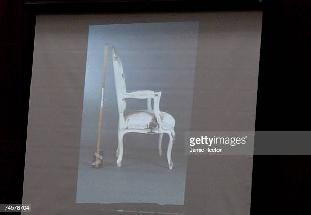 The chair where actress Lana Clarkson was found dead of a gunshot wound to the mouth is shown during the trial of music producer Phil Spector June...