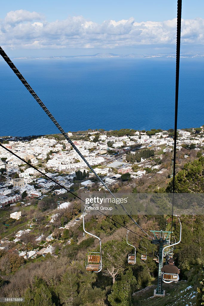 The chairlift ' Seggiovia' to Monte Solaro. : Stock Photo