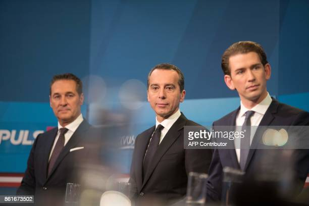 The chairman of Austria's farright Freedom Party HeinzChristian Strache Austrian Chancellor and leader of the Social Democrats Christian Kern and...