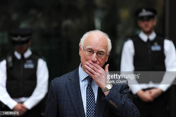 The Chairman of Chelsea Football Club Bruce Buck speaks to the media outside Westminster Magistrates court in London on July 13 after Chelsea and...