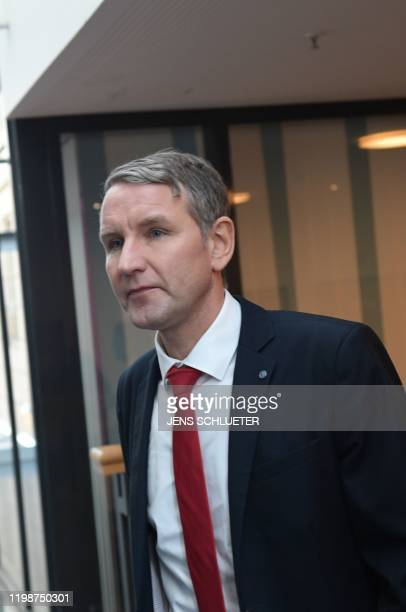 The Chairman of farright AfD party parliamentary group in Thuringia Bjoern Hoecke is seen in the Thuringian state parliament in Erfurt eastern...