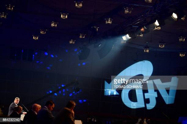 The chairman of the Alternative for Germany farright party Joerg Meuthen speaks during the congress of the AfD on December 2 2017 in Hanover northern...