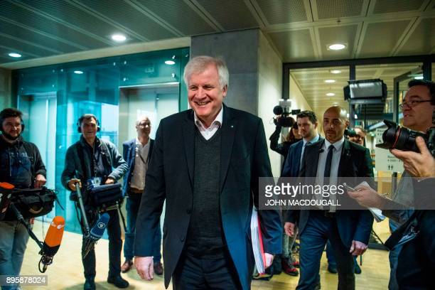 The chairman of the Bavarian Christian Social Union party Horst Seehofer arrives for talks about forming a coalition government involving the Social...