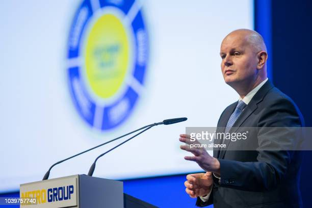 The chairman of the board of Metro Group Olaf Koch speaks during Metro Group's general shareholder's meeting in Duesseldorf Germany 20 February 2015...