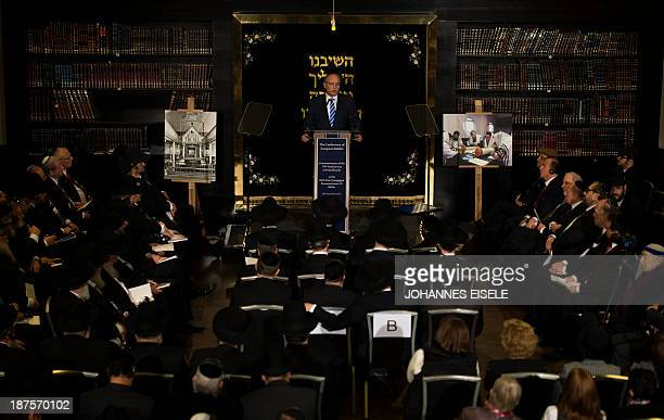 The Chairman of the Central Council of Jews in Germany Dieter Graumann speaks during a commemoration for the 75th anniversary of the Nazi pogrom...