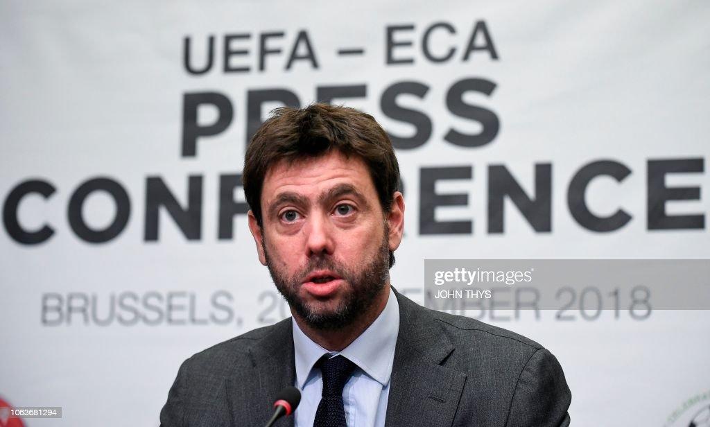 FBL-BEL-UEFA-ECA-PRESSER : News Photo