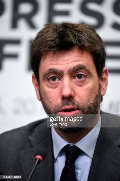 The Chairman of the European Club Association Andrea Agnelli talks during a joint press conference with the UEFA President in Brussels on Novembre 20...
