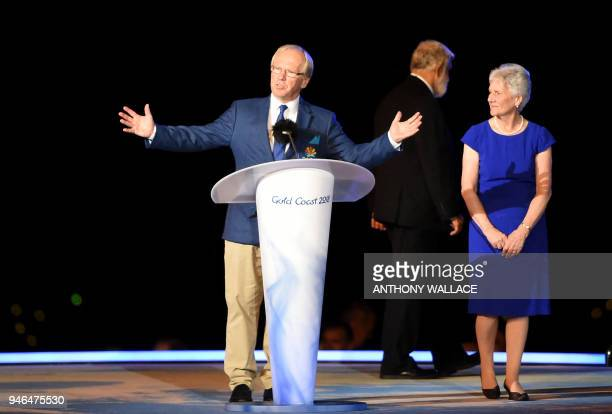 The Chairman of the Gold Coast 2018 Peter Beattie speaks next to the President of the Commonwealth Games Federation Louise Martin during the closing...