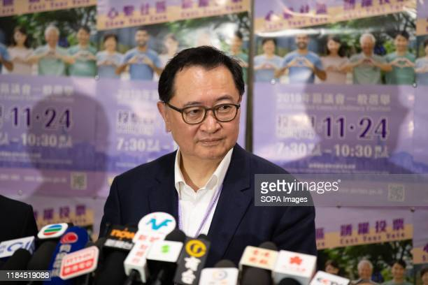 The Chairman of the HKSAR Electoral Affairs Commission Barnabas Fung speaks to the media after the district council elections Nearly 3 million Hong...