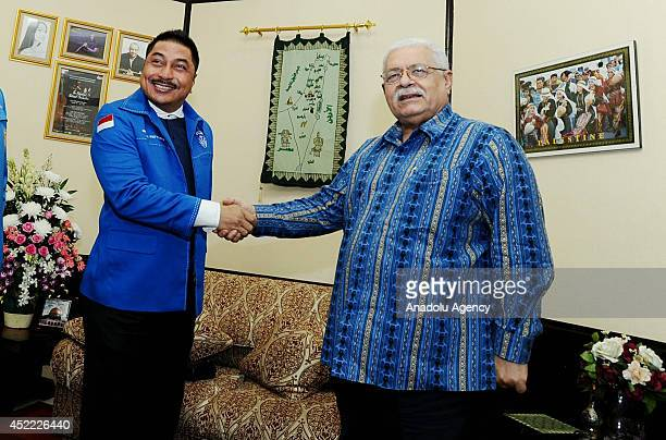 The Chairman of the Indonesian Christian Youth Movement Force Michael Wattimena meets with Palestinian Ambassador for Indonesia Fariz Mehdawi at the...