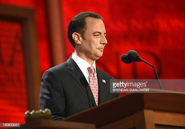 The Chairman of the Republican National Convention Reince Priebus smiles at the crowd before gaveling the convention to order at the Tampa Bay Times...