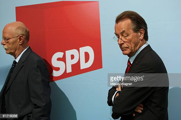 The chairman of the Social Democratic Party Franz Muentefering and Peter Struck parliamentary group leader of Germany's social democratic party...