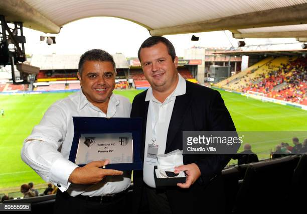 The Chairman of Watford Jimmy Russo and the Chairman of Parma Tommaso Ghirardi during the friendly match between Watford and Parma FC at the...