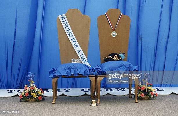 The chairs for the next Torbay Carnival Princess and Queen competition winners awaits their newest occupants during the seaside towns fair in Devon...