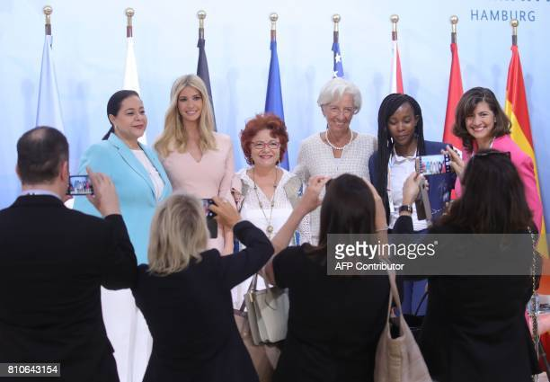 CORRECTION The chairwoman of the Holmarcom Group Meriem Bensalah the daughter of US President Donald Trump Ivanka Trump founder and director of Enda...