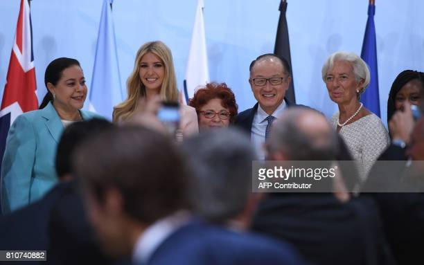 The chairwoman of the Holmarcom Group Meriem Bensalah the daughter of the US President Ivanka Trump the founder and director of Enda interArabe Essma...