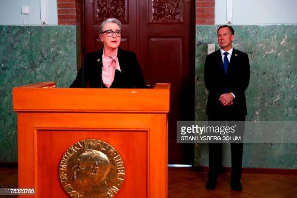 The chairwoman of the Norwegian Nobel Peace Prize Committee, Berit Reiss-Andersen announces the laureate of the 2019 Nobel Peace Prize next to...