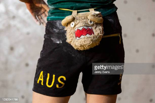 The chalk bag of Ella Easton is seen during the Sport Climbing Olympic Qualifications at Sydney Indoor Climbing Gym on December 19, 2020 in Sydney,...